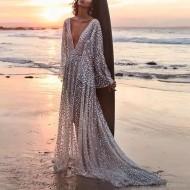 Vestido longo brilhante pôr do sol Ref 484