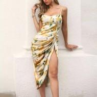 Vestido midi moda feminina cetim de seda Ref 674