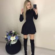 Vestido preto manga longa rodado Ref 1081