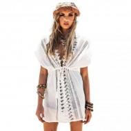 Vestidinho de praia branco crochet Ref 503