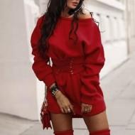 Vestido executiva de inverno vermelho Ref 1143