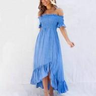 Vestido azul royal ciganinha barra plissada Ref 707