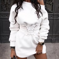 Vestido branco manga longa de inverno Ref 1145