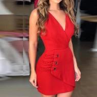 Vestido vermelho tendência nova coleção 2020 Ref 1156