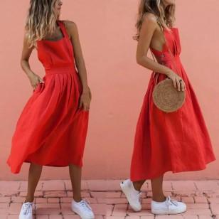 Vestido vermelho casual moda blogueira Ref 1139