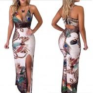 Vestido longo estampado moda verão Ref 406