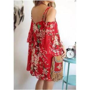 Vestido curto ciganinha vermelho floral Ref 389