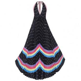 Vestido longo plissado aberto nas costas Ref  546