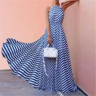 Vestido longo azul listrado Ref 1133
