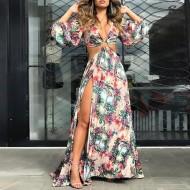 Vestido longo floral com fenda e manga longa Ref 1514