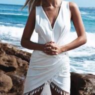 Vestidinho de praia transpassado envelope Ref 1673