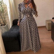 Vestido longo moda Evangélica étnico Ref 1363