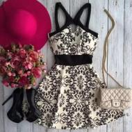 Vestido rodado vintage estampado boutique Ref 1495
