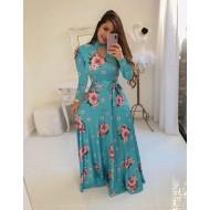 Vestido floral azul manga longa Ref 1312