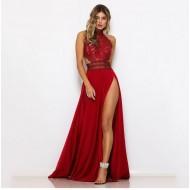 Vestido de festa renda guipir com saia 2 fendas Ref 1544