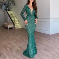 Vestido de festa verde brilhantes Madrinhas Ref 1473