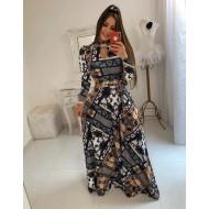 Vestido lindo longo de mangas compridas Ref 1365