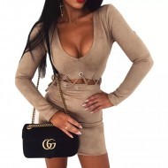 Vestido suede manga longa cintura amarrada Ref 1515