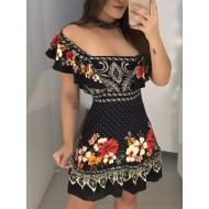 Vestido Rafa floral ombro a ombro tendência 2020 Ref 1513