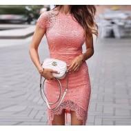 Vestido Ariane de renda salmão guipir Ref 1536