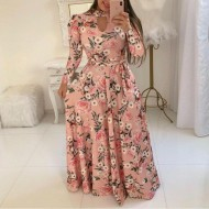 Vestido longo rosa floral em promoção Ref 1362