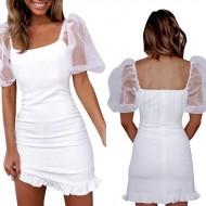 Vestido branco de mangas transparentes Ref 1742