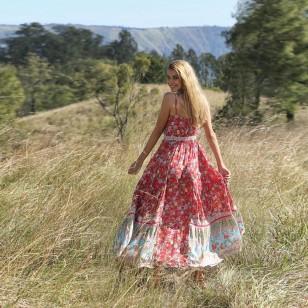 Vestido flores do campo longo Ref 1816