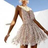 Vestido rodado de festa decote V brilhantes Ref 1743