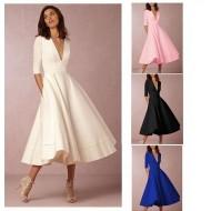 Vestido elegante coquetel luxo decote em V Ref 1829