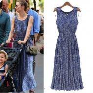 Vestido longo azul plissado Ref 1723