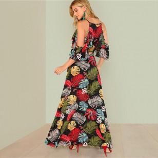 Vestido longo floral chiffon com fenda Ref 1817