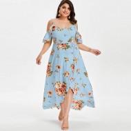 Vestido plus size longo floral Ref 1745