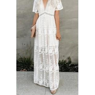 Vestido branco Réveillon crochê renda tendência 2021 Ref 2460