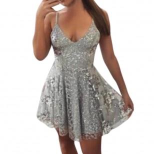 Vestido de festa de 15 anos prata brilhante Ref 2829