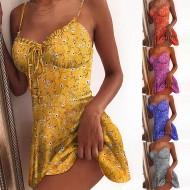 Vestidinho curto estampa floral decote de Princesa Ref 2351