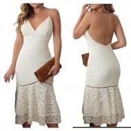 Vestido Ariane Canovas midi off white saia plissada renda Ref 2577