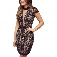 Vestido Ariane Canovas  curto renda decote V Ref 2575