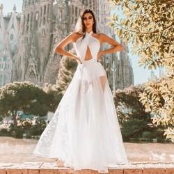 Vestido branco longo renda e saia transparente Ref 2116