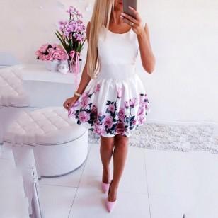 Vestido de verão decote redondo rosa impresso floral elegante sem mangas Ref 2264