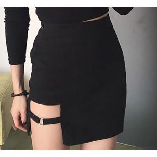 Saia moderna curta feminina cintura alta lisa Ref 2348