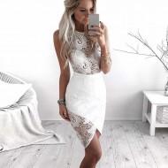 Vestido branco de renda crochê curto Réveillon Ref 2831