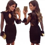 Vestido Ariane Canovas preto renda manga longa luxo Ref 2574