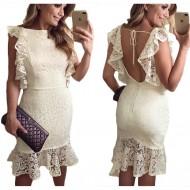 Vestido Ariane Canovas off white babados renda luxo Ref 2576