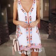 Vestido de praia étnico com franjas de cordinha Ref 2081
