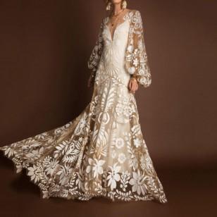 Vestido longo crochê fotos pré wedding Ref 1862