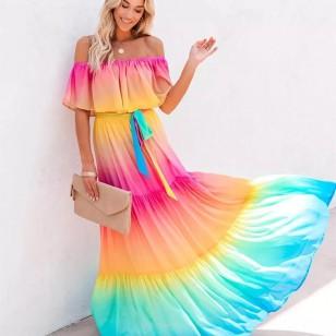 Vestido colorido arco íris tye die ciganinha longo Ref 2801