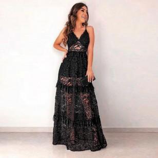 Vestido longo de festa renda crochê preto Ref 1868