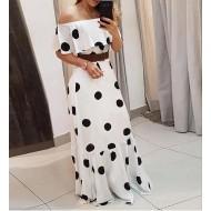 Vestido longo branco poá Réveillon 2021 Ref 2435