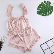 Conjunto de pijama em seda rosa champagne Ref 1865