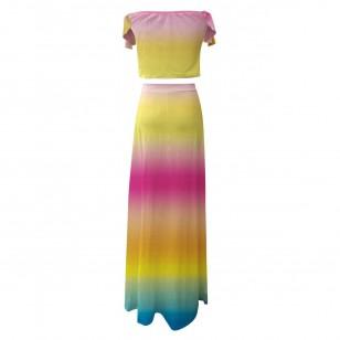 Vestido tye die degradê colorido arco íris Ref 2800